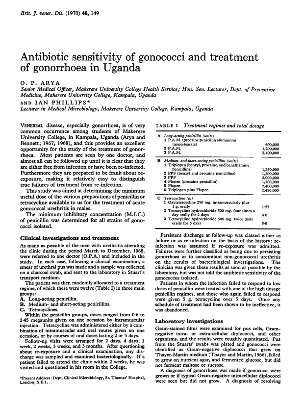 Antibiotic sensitivity of gonococci and treatment of