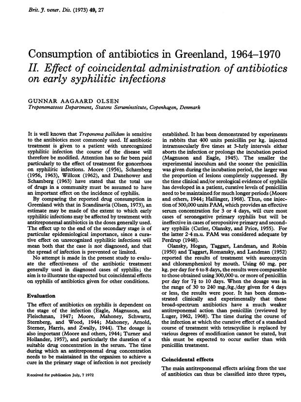 Consumption of antibiotics in Greenland, 1964-1970  II