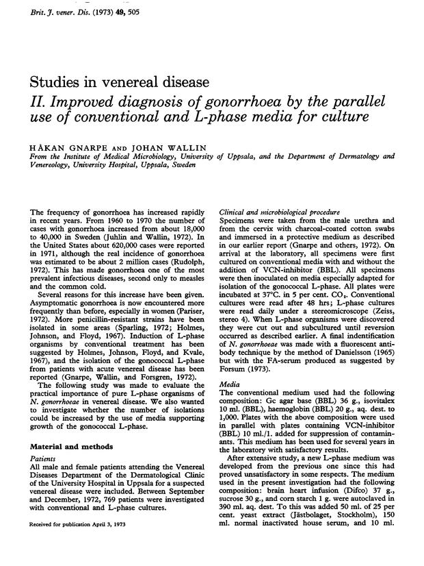 Studies in venereal disease  II  Improved diagnosis of