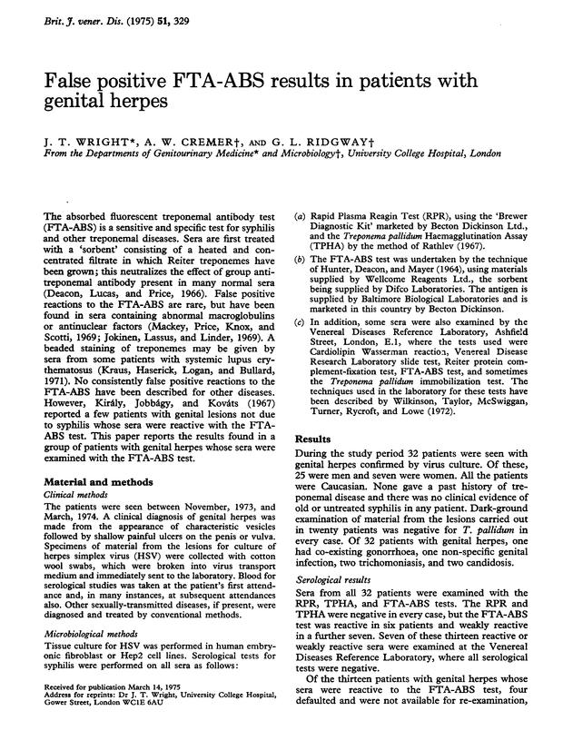 Positive genital false herpes test CDC –
